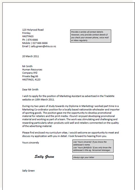 Application Letter Template Nz Cover Letter