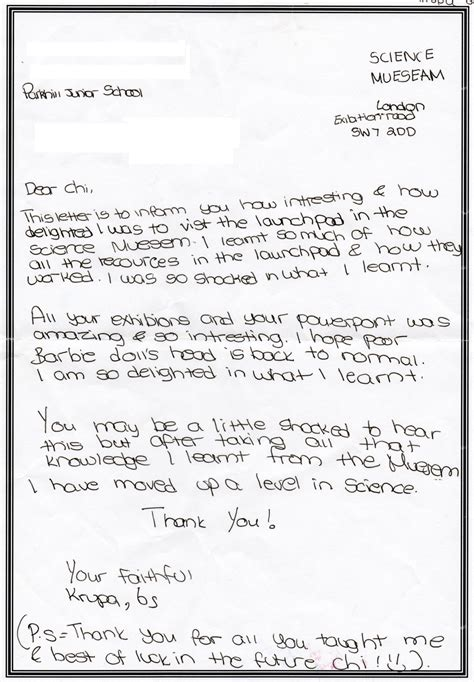 School Appeal Letter Exles Uk visitor letters parkhill school science museum
