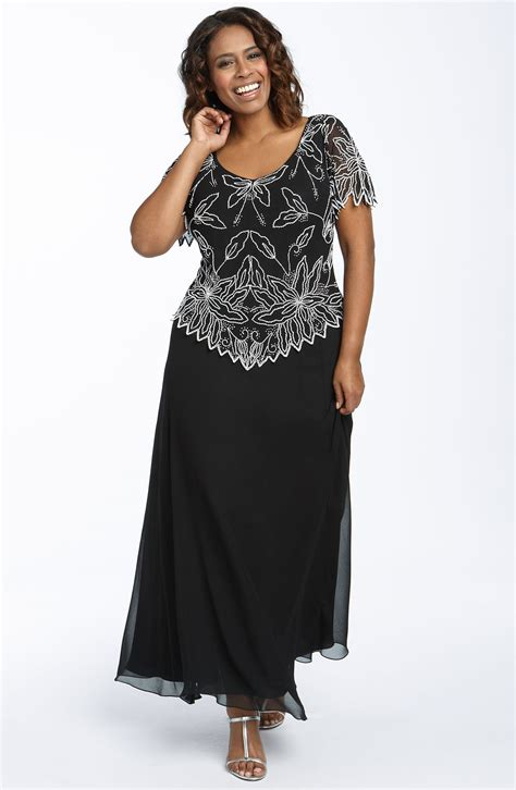 j kara beaded gown j kara beaded mock two chiffon gown in black black