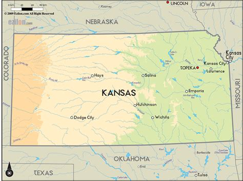 kansas united states map geographical map of kansas and kansas geographical maps