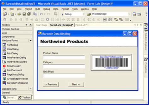 design windows form barcode data binding in windows forms