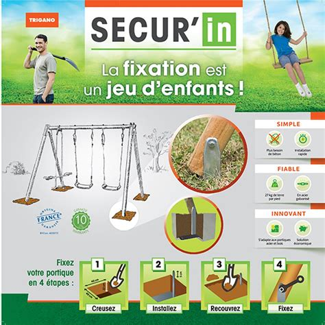 Fixation Pour Balancoire Bois by Kit De Scellement Pour Portique Bois Ou M 233 Tal Secur In