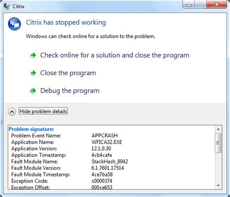 error message coreldraw has stopped working windows 7 citrix online plugin crashes randomly