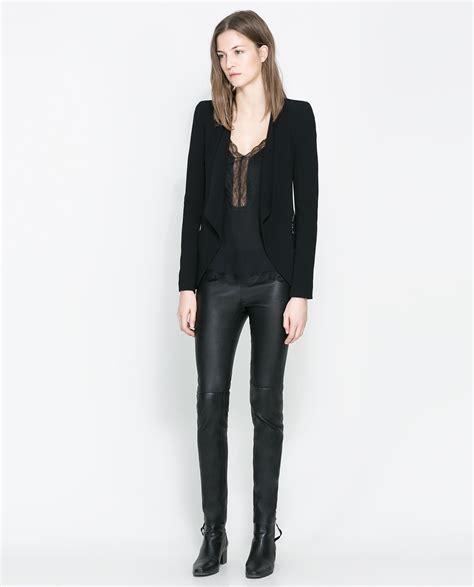 Blazer Zara zara blazer with zips in black lyst