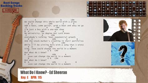ed sheeran what do i know chords what do i know ed sheeran guitar backing track with