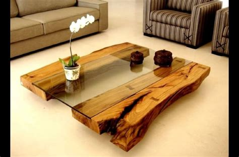 latest wooden centre table designs  glass top