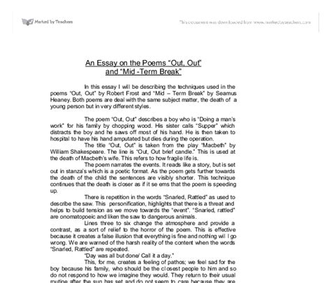 Seamus Heaney Essay by Exle Of Mid Term Seamus Heaney