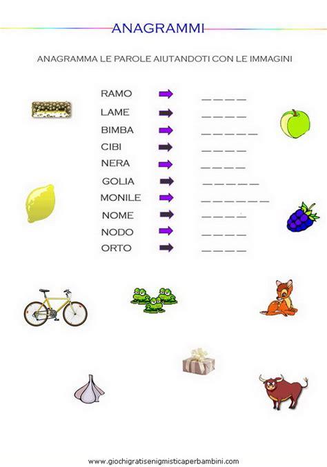 anagrammi lettere con immagini g enigmistica per bambini e ragazzi