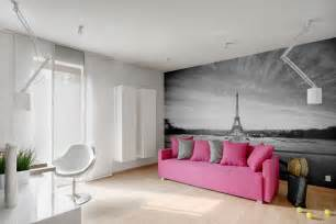 Pink sofa grey walls interiors by color