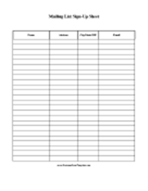 mailing list sign up card template sign in sheets and sign up sheets templates