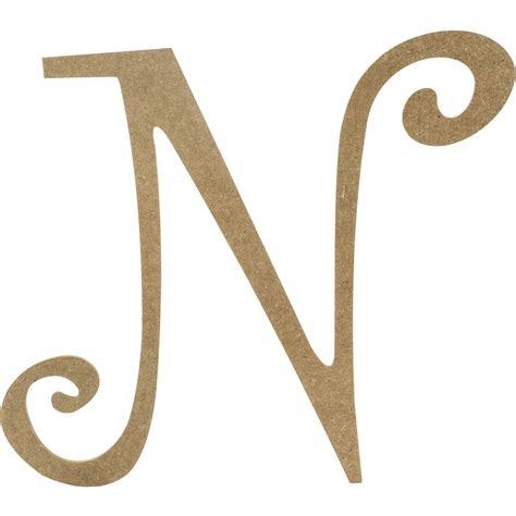 14 quot decorative wooden curly letter n ab2158
