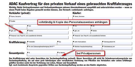 Auto Kaufvertrag Privat Vordruck by Auto Kaufvertag Privat Tipps Mustervertrag F 252 R