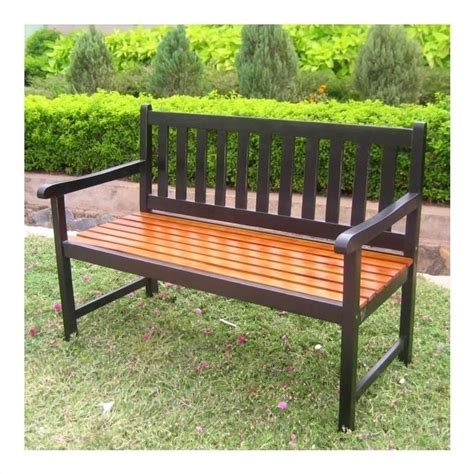 black porch bench highland acacia patio garden bench in black vf 4110 bk ok
