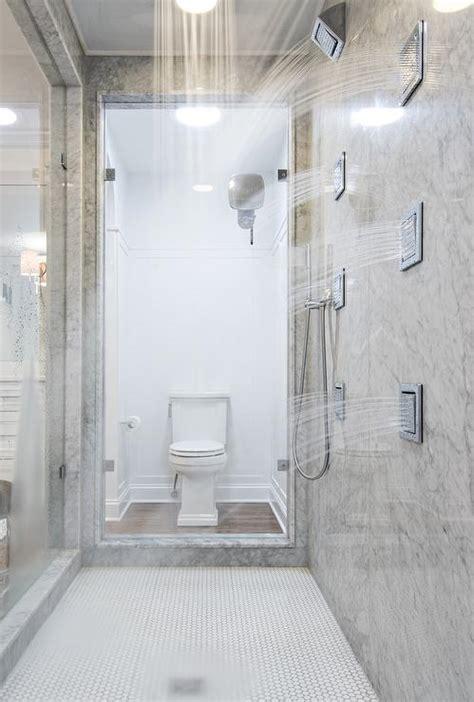 walk through showers transitional bathroom