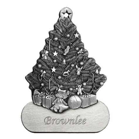 engravable christmas tree pewter ornament