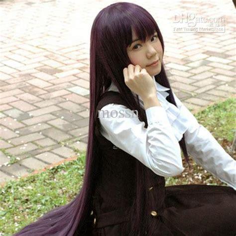 hair heat resistant 100cm purple black wig wig makers japanese