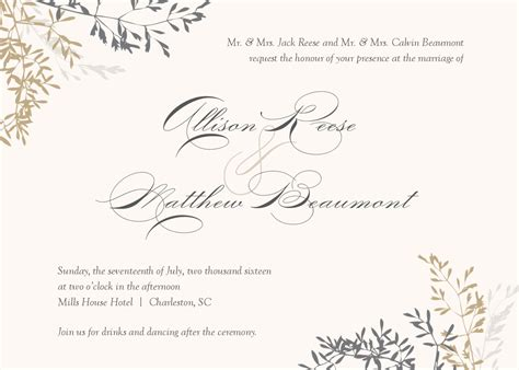Delicate Branch Wedding Invitation Invites Templates