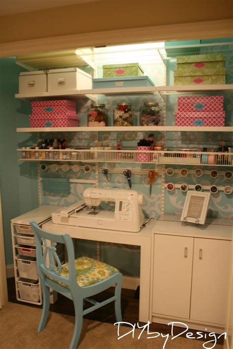 craft room in a closet shoe boxes covered in contact paper contact paper in