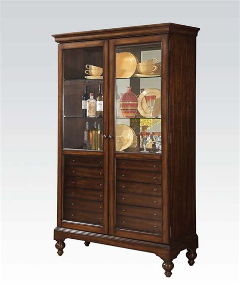 Acme Furniture Curio Cabinet W 6 Drawers Ac90105