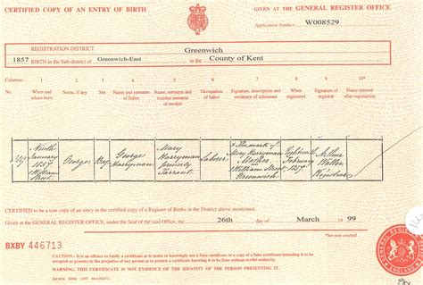 full birth certificate kingston ancestors of george harryman 514