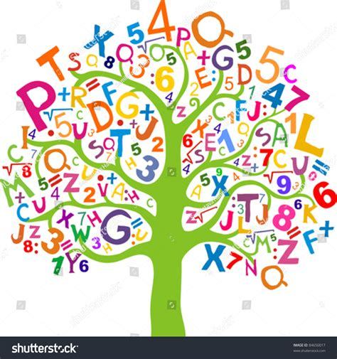 Letter And Number abstract tree black letters numbers isolated stock vector