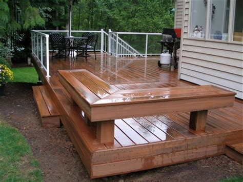patio bench seating deck with built in bench outdoors pinterest decking