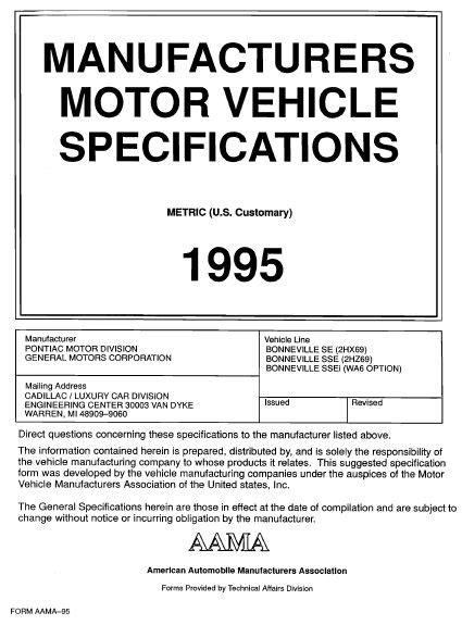 online auto repair manual 1995 pontiac bonneville instrument cluster taylor automotive tech line 1995 pontiac bonneville mvma specifications