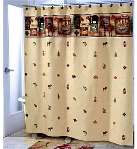 fishing themed shower curtains this cing trip themed fabric shower curtain looks