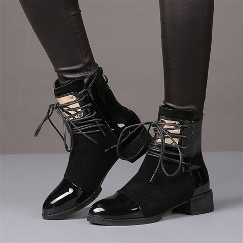 Flat Shoes Martin 35 43 boots genuine leather flat martin ankle boots womens motorcycle boots autumn shoes