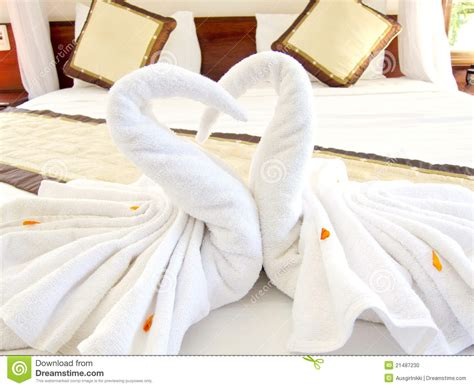 Swan Towel Origami - origami swan towels bed decoration stock photo image