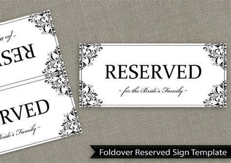 reserved sign template word wedding reserved sign template by diyweddingtemplates