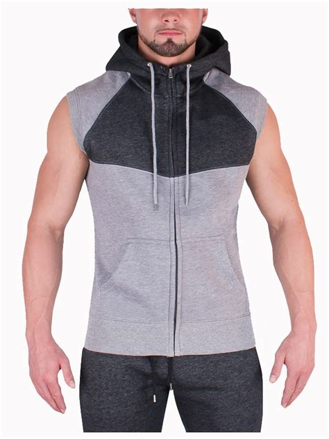 sleeveless hoodie design your own hot sale fitness sport zip hoodie cotton polyester men s