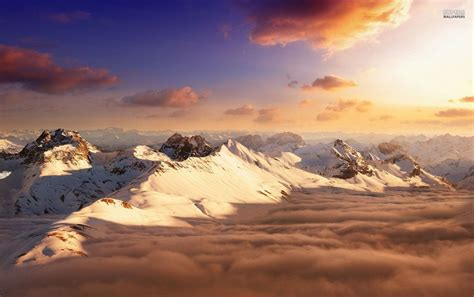 snowy mountains peaks clouds wallpapers snowy