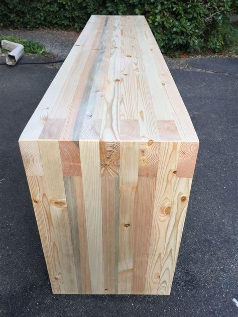 box joint doug fir  entry bench waterfall legs