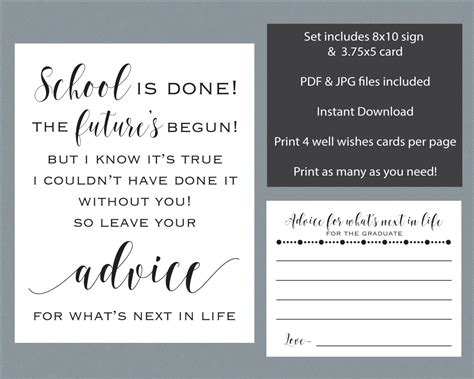 graduation wishes advice cards template graduation advice sign cards commencement or graduation