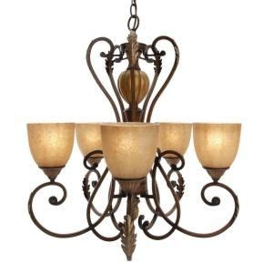 hton bay chateau 5 light walnut chandelier