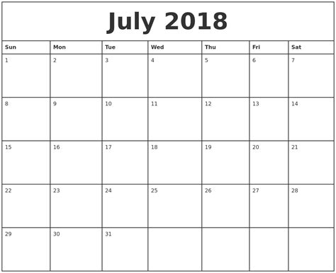 july printable monthly calendar