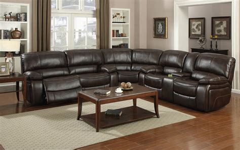 lakewood theater with recliners e motion 4400 brown 3 recliner sectional sofa with console