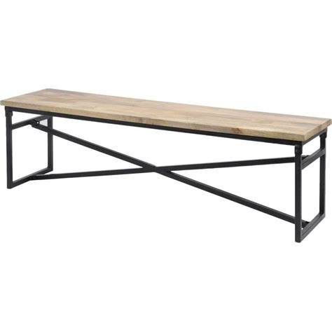 metal wood bench libra mango wood metal industrial dining bench at fusion living