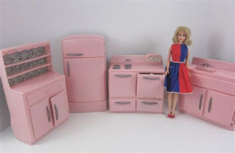 barbie kitchen furniture tico vintage 1950 s pink plastic 4p kitchen furniture set barbie 12 quot scale retro ebay