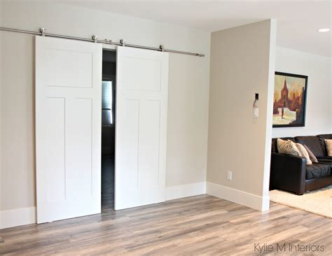 White Sliding Barn Door Benjamin Edgecomb Gray Leading Into Master Bedroom With 2 White Sliding Barn Doors And