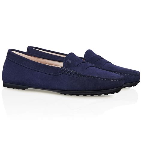 loafers suede tod s city gommino suede loafers in blue lyst