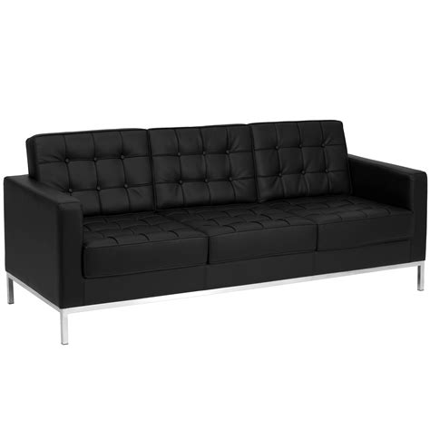 black modern sofa flash furniture hercules series contemporary black leather sofa with stainless steel frame
