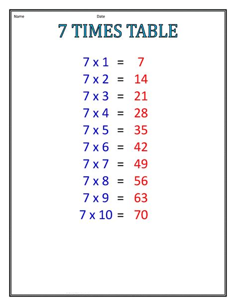 multiplication worksheets table of 7 7 times table worksheets to print activity shelter