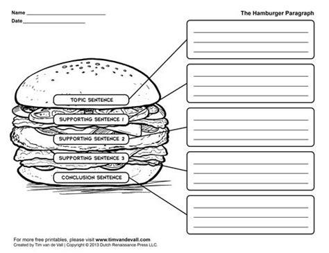 printable paper organizer printable hamburger paragraph template english