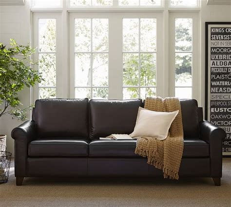 pottery barn leather sofa reviews cameron roll arm leather sofa pottery barn