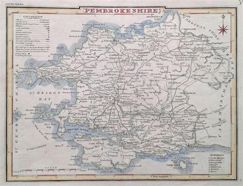 antique map  pembrokeshire cole roper