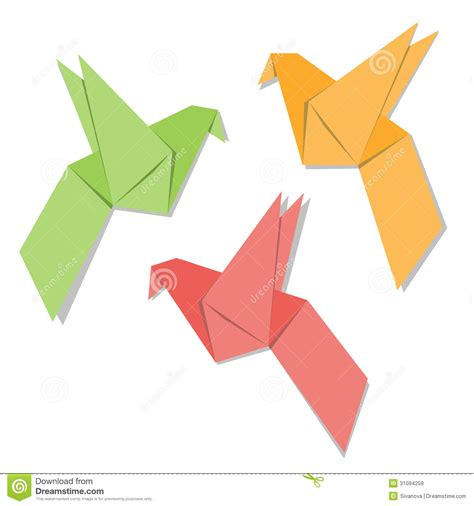 Folded Paper Birds - origami paper bird royalty free stock images image 31094259