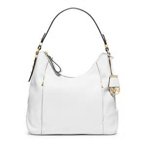Michael kors bowery large leather shoulder bag in white lyst