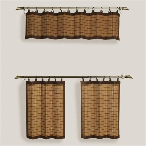 bamboo tier curtains natural colonial bamboo ring top window valance and tiers